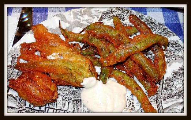 071314 fried zuke blossom and beans